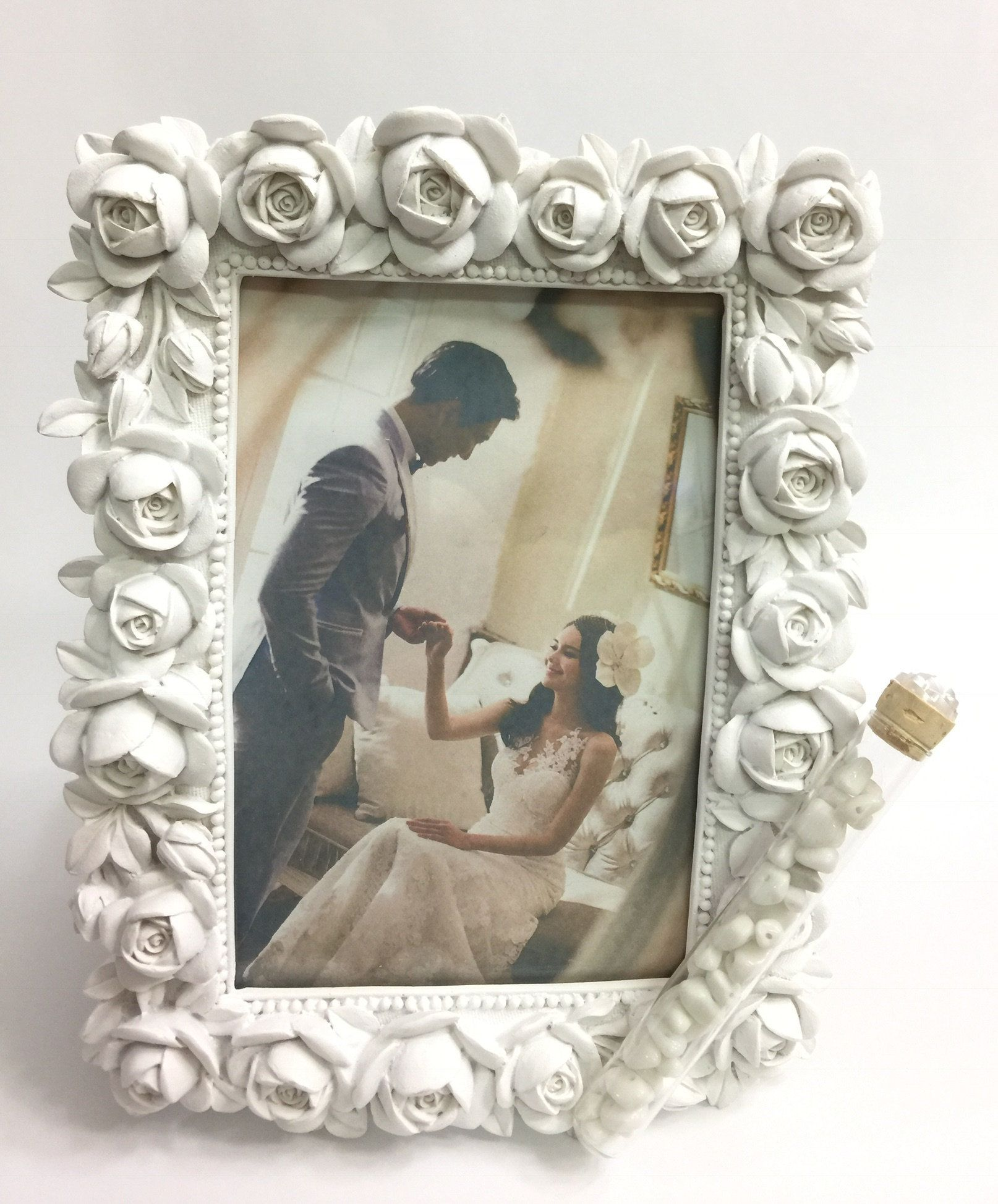 Jewish Wedding White Roses Photo Picture Frame With A Container For