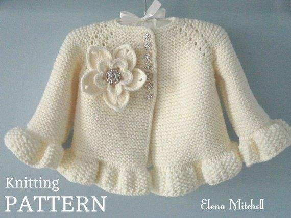 Knitting PATTERN Baby Jacket Baby Cardigan Garter Stitch Knit Pattern Baby Girl Jacket Newborn Girl Coat Knitting Cardigan Baby PATTERN #uncinettoperbambina