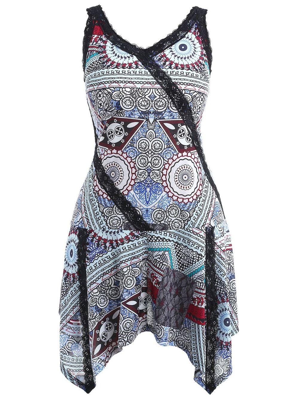 e121c1cbae3 Plus Size Print Asymmetric Dress in 2018