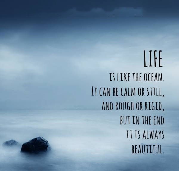 "Quotes About Ocean: Life Quote "" LIFE IS LIKE AN OCEAN. IT CAN BE CALM OR"