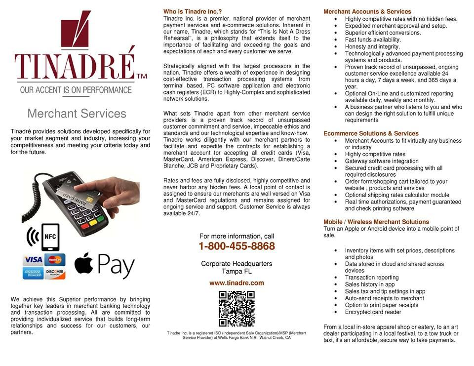 Brochure Provided By Tinadre Merchant Services Merchant Services Credit Card Merchant Account