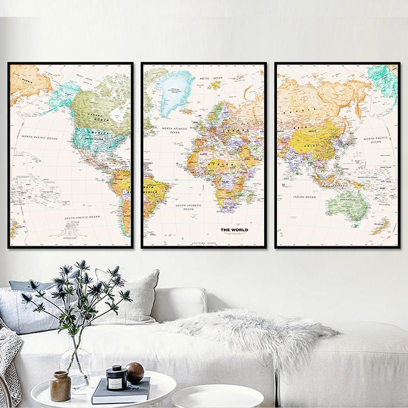 three panel world map 3 Panel World Map Canvas Wall Art Map Canvas World Map Wall Art