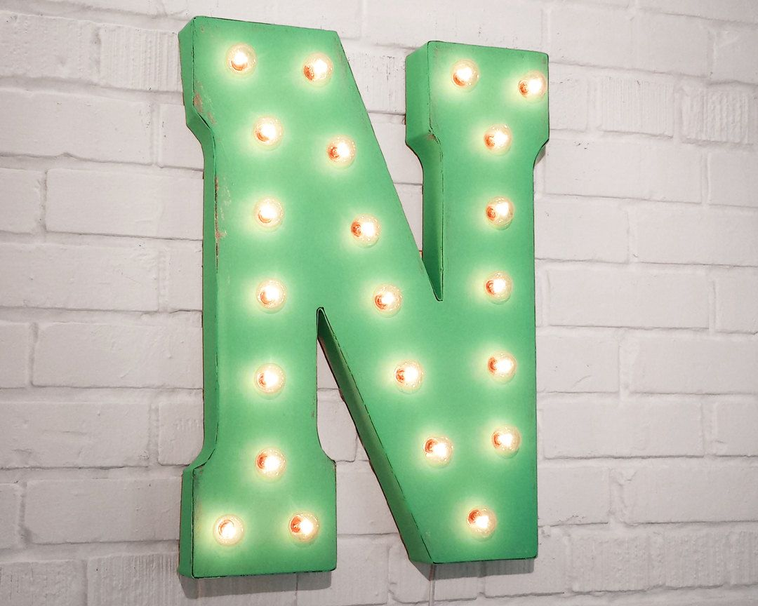 Letter N Rustic Metal Marquee Sign Light - White Red Blue ...