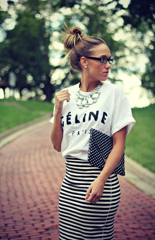 1b3db9d695 sunnies / graphic tee / plack and white striped pencil skirt / black and  white polka dot clutch / crystal necklace