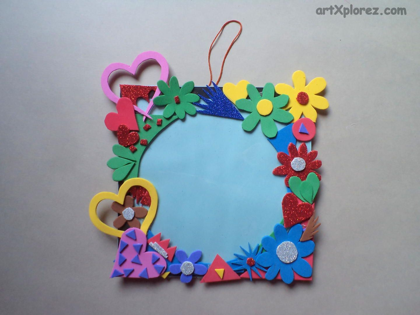 Craft Ideas For Kids Wall Hanging Part - 23: Photo Frame Using Craft Foam Step 8