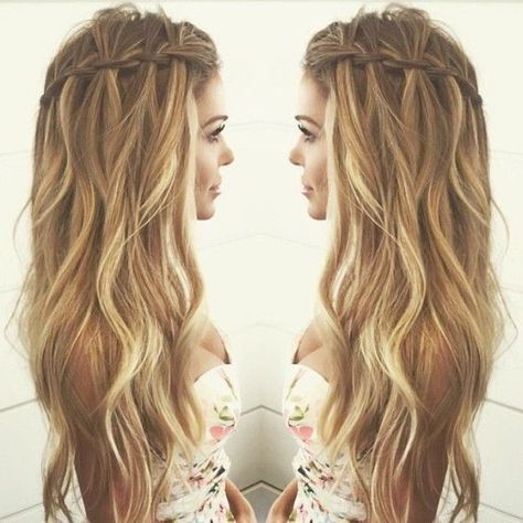 10 Pretty Waterfall French Braid Hairstyles 2020 With Images Waterfall Braid Hairstyle Hair Hair Inspiration