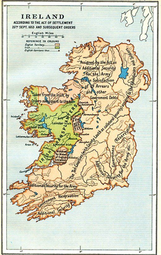 Map Of Ireland According To The Act Of Settlement 1653 And