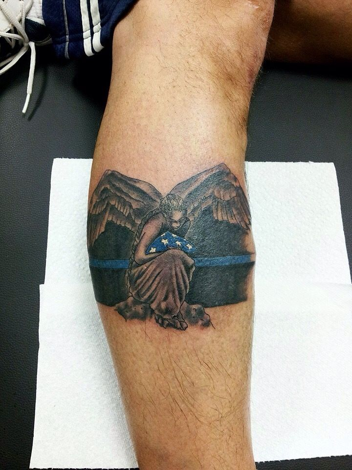 Angel Holding The Flag Police Tattoo Thin Blue Line Tattoos Police Tattoo I Tattoo