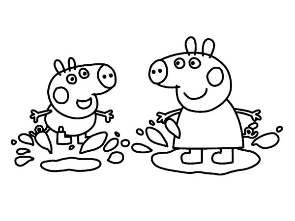 Peppa Pig And George Playing In The Mud Coloring Page Coloring Sky