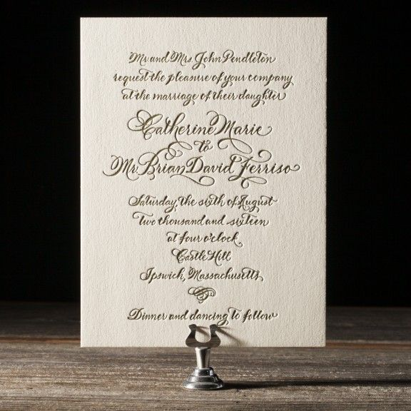Classic Calligraphy letterpress wedding invitations Wedding