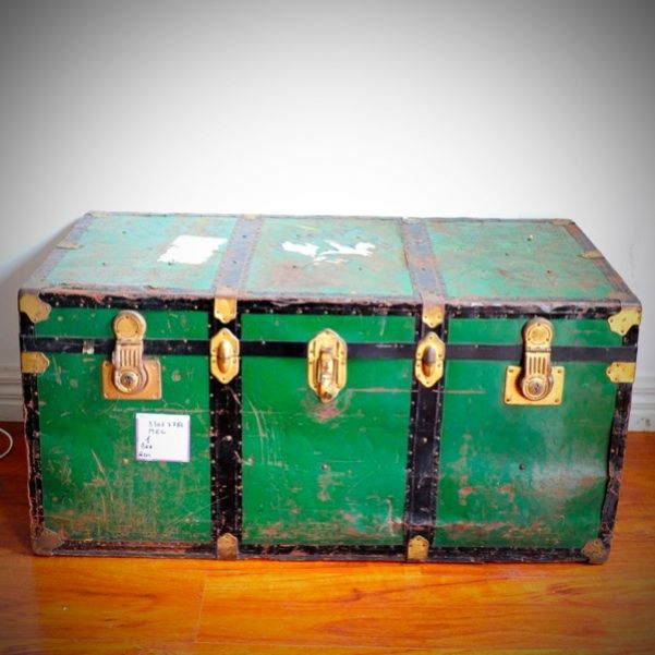 Vintage Metal Trunk Industrial Shipping Chest Coffee Table Tv Stand Italy Metal Trunks Chest Coffee Table Vintage Metal
