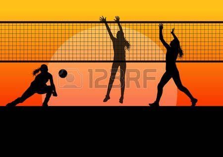 volleyball girl: Voleibol mujer concepto jugador fondo Vectores