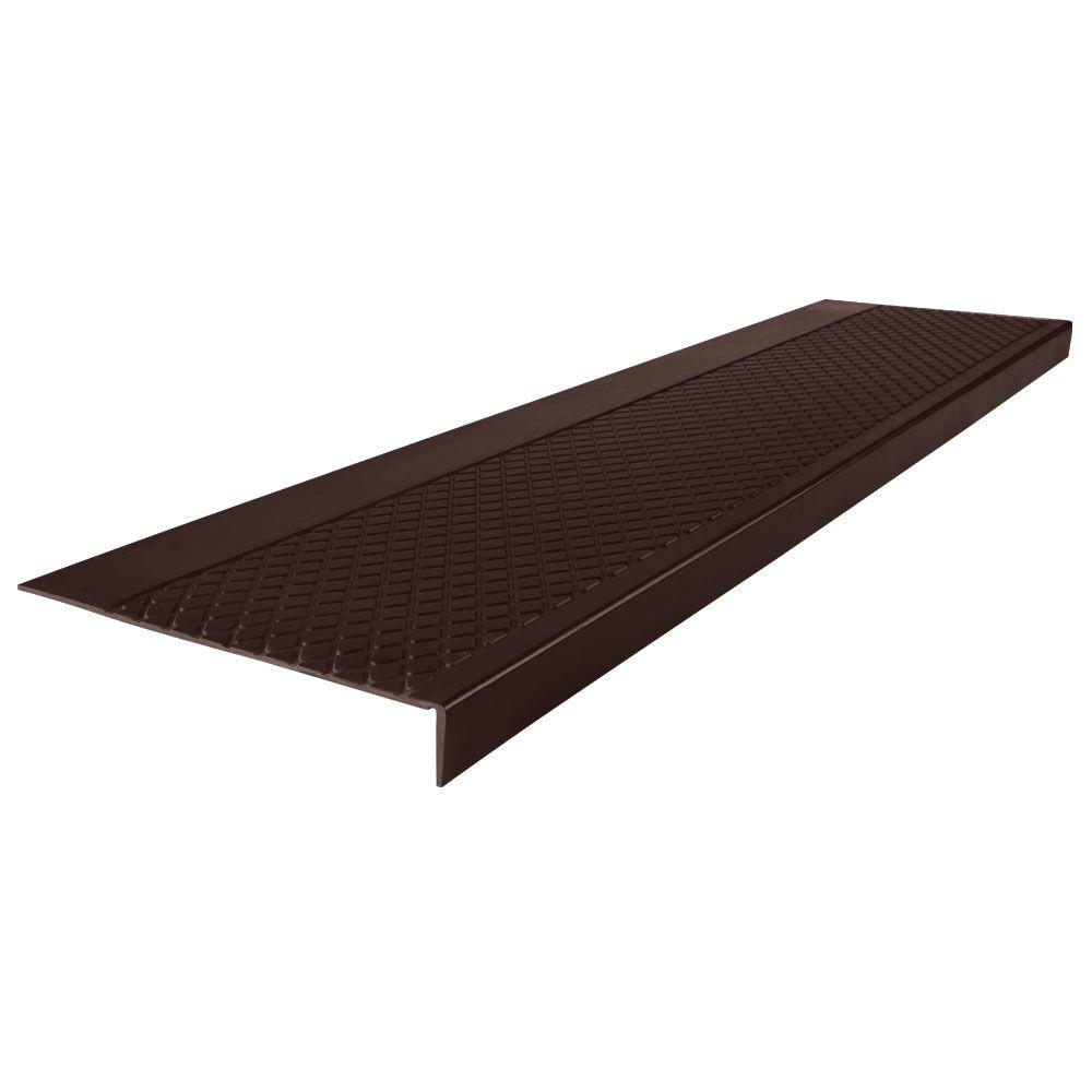 Roppe Diamond Profile Brown 12 In X 60 In Square Nose Stair Tread Cover 60302p110 The Home Depot In 2020 Stair Tread Covers Stair Treads Stairs