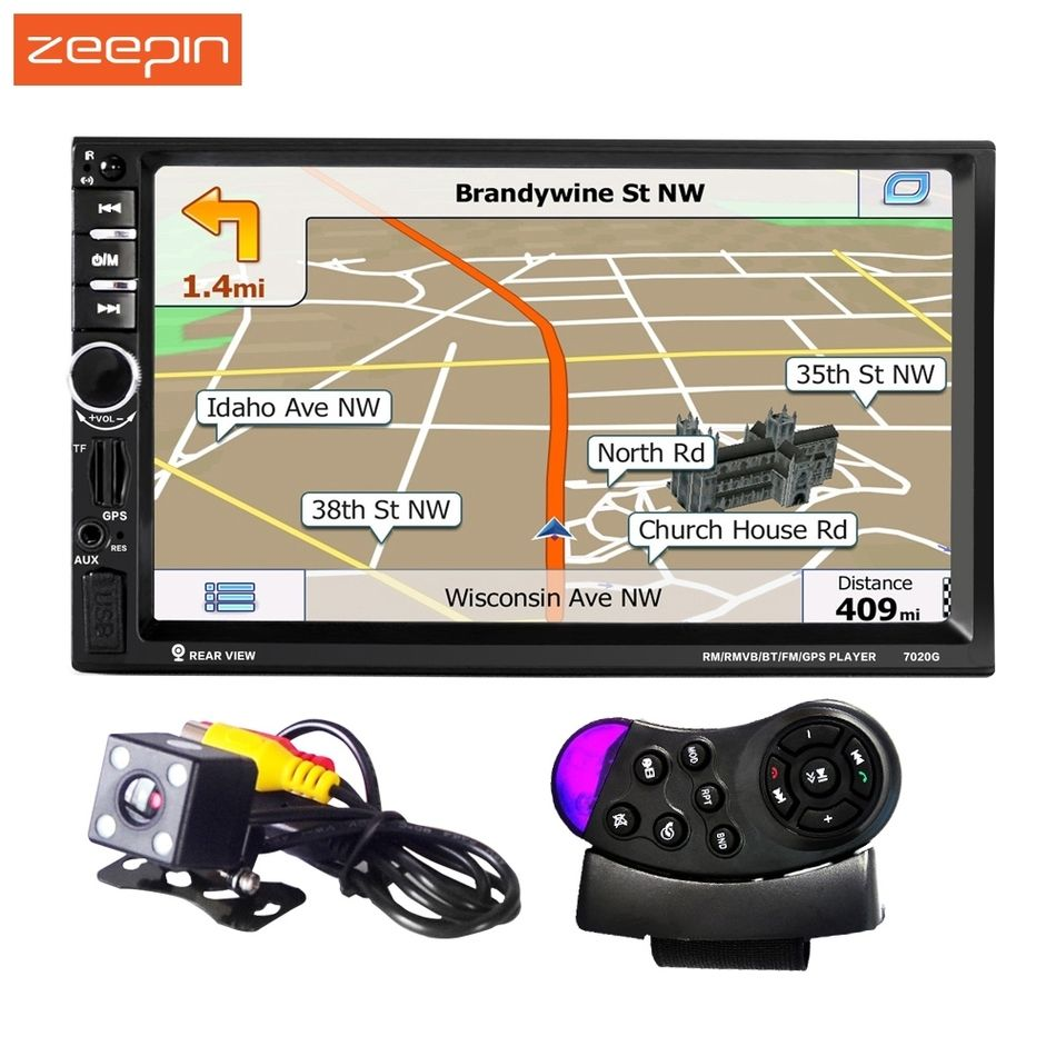 Aliexpress 2 Din 1080p Univeral Car Dvd Video Player 7020g 12v Touch Screen Gps Navigation With Remote Control Rearview Camera Availabl Audio Mobil Roda Kemudi