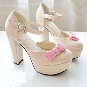 Fashion Sexy Women's SWEET Cute Bowtie High Heeled Shoes Platform Pumps Sandal Shoes Free Shipping-in Pumps
