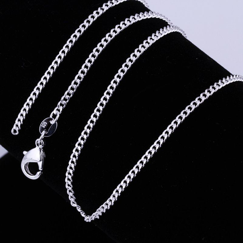 16//18//20//22//24 inch Women Sterling Silver Necklace Neck Chain Fine Curb Chain