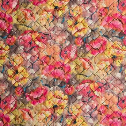 Coral/Multi-Colored Digitally Printed Abstract Floral Quilted ...