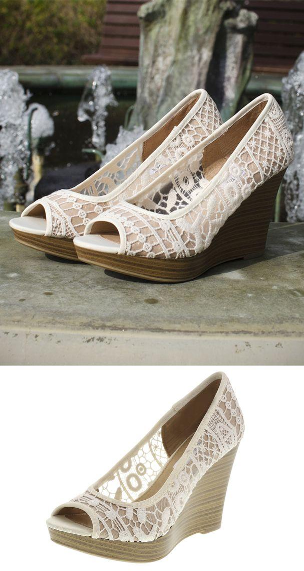 86062ae85880 Ivory crochet peep toe wedge payless shoesource crochet jpg 607x1137  Payless shoes wedges