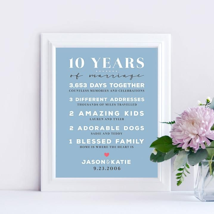 10 Year Wedding Anniversary Print In 2020 Wedding Anniversary Wedding Anniversary Gifts 10th Anniversary Party