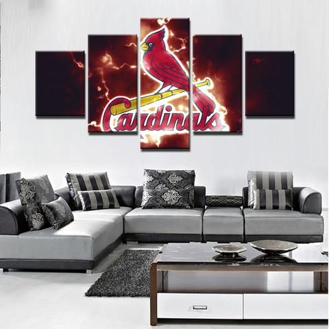 St. Louis Cardinals MLB Baseball 5 Panel Canvas Wall Art Home Decor