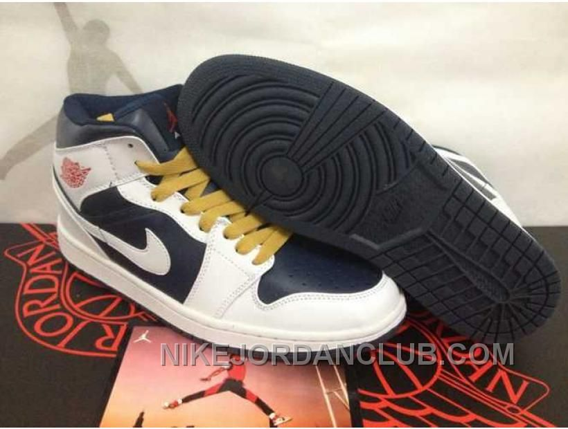 Buy Discount Nike Air Jordan 1 Mens High Tops White Yellow Dark Blue  Leather Shoes from Reliable Discount Nike Air Jordan 1 Mens High Tops White  Yellow Dark ...