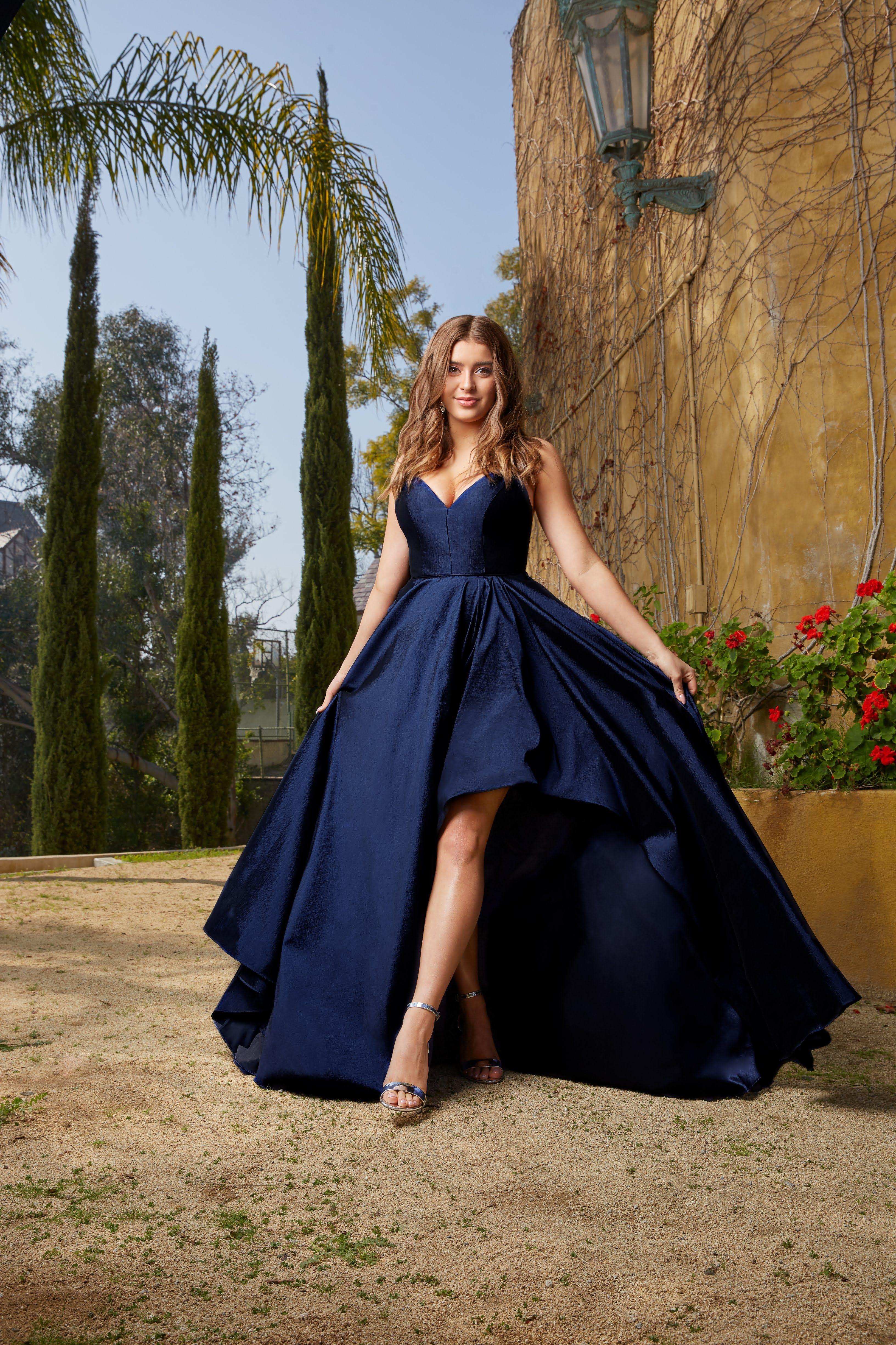 Navy Blue High Low Kalani Hilliker Prom Dress V Neck Prom Dresses High Low Prom Dresses High Low Prom Dress [ 4898 x 3265 Pixel ]