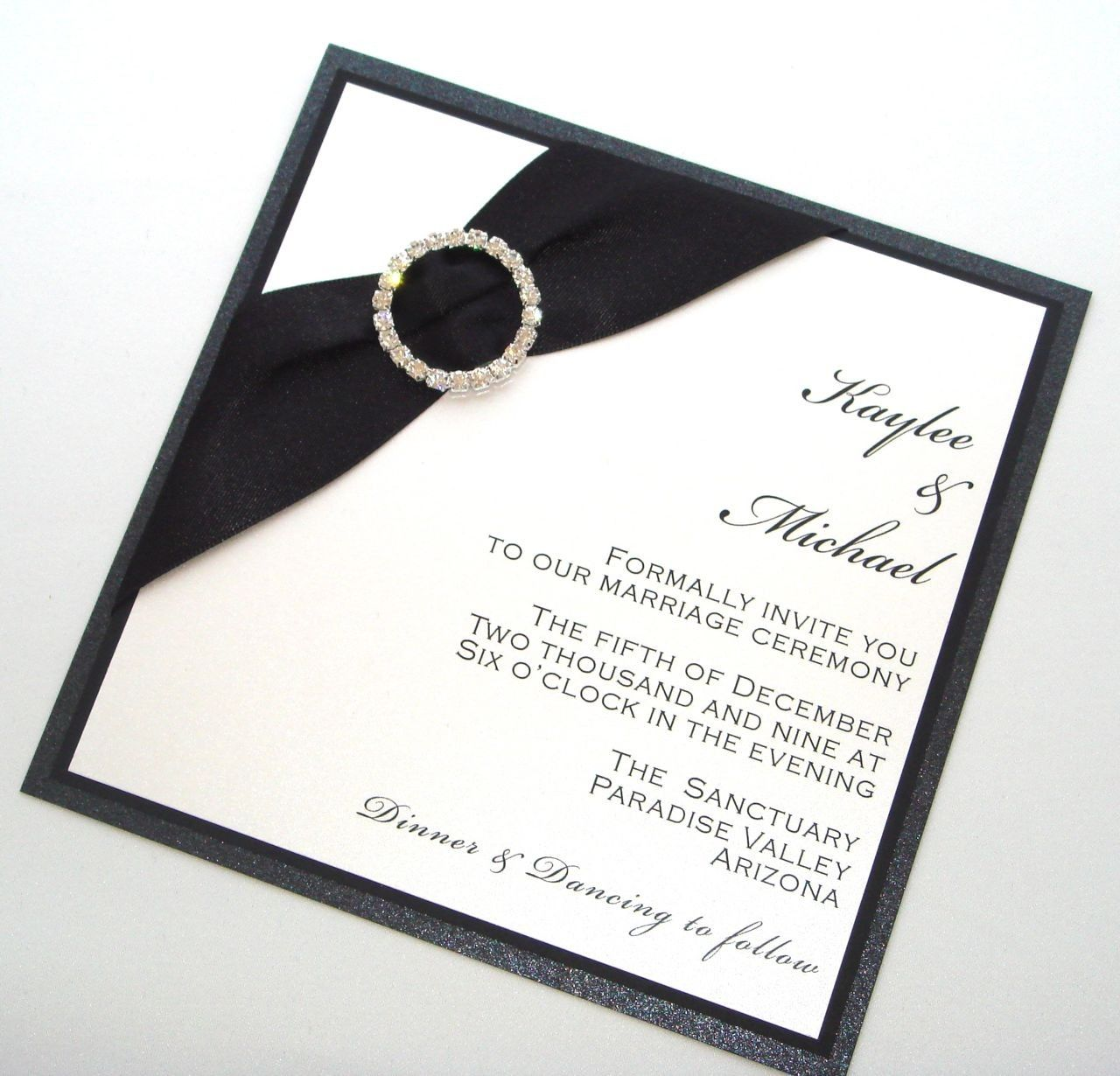 Kaylee Couture Wedding Invitation Sample - Black and White. $8.50, via Etsy.
