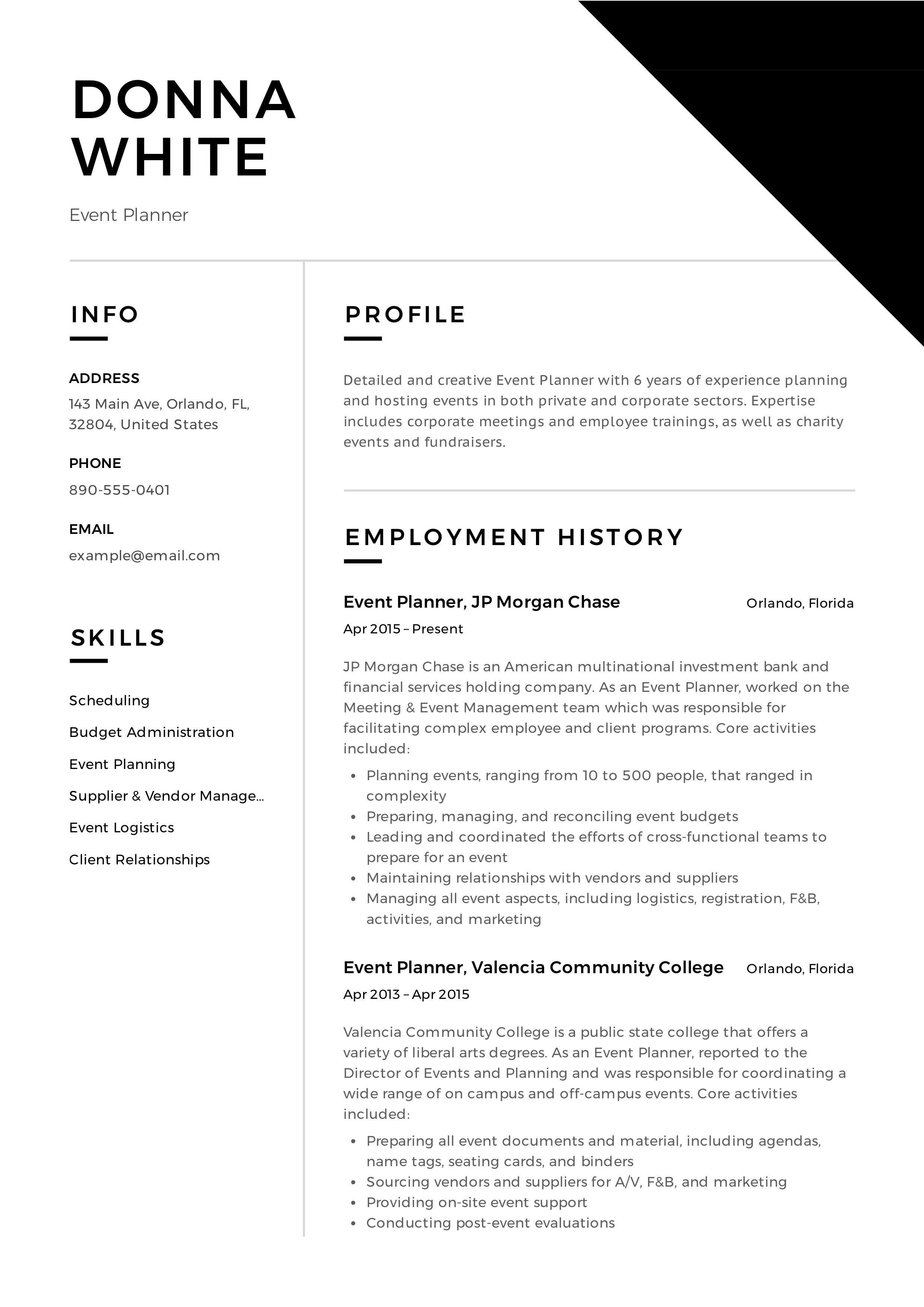 Event Planner Resume Example, Template, Sample, CV, Formal