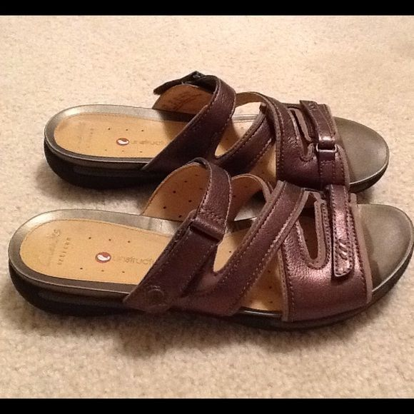 b064d42801cb Clarks Artisan Unstructured Sandals Look new. Only worn once. Very  comfortable Clarks. Metallic bronze color. Adjustable straps. Clarks Shoes  Sandals