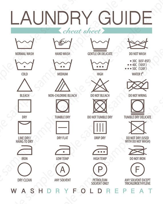 Wash Care Symbols Laundry Guide Printable Printable Laundry