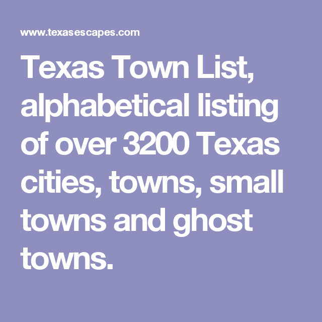 Towns in texas in alphabetical order