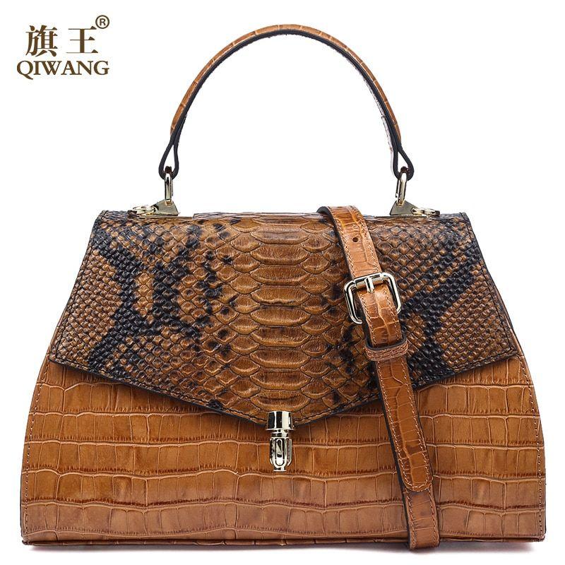 23d3f9fb5c77 Купить товар Qiwang элегантный Для женщин кожаный топ ручка сумки  классической моды дамы Аллигатор тиснением кожаная