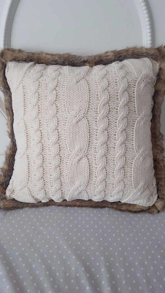 New Ivory Cream Chunky Cable Knit Sweater Thro Pillow Faux Fur Trim Zip Cover Pottery Barn Pillow Cover Knit Pillow Knitted Cushion Covers