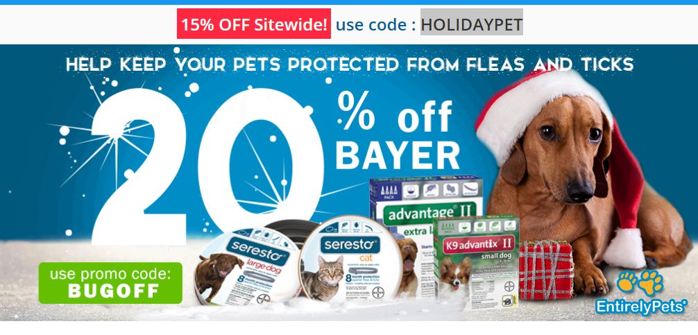 Entirelypets Get 15 Off Sitewide And 20 Off On Bayer Pets Dogs