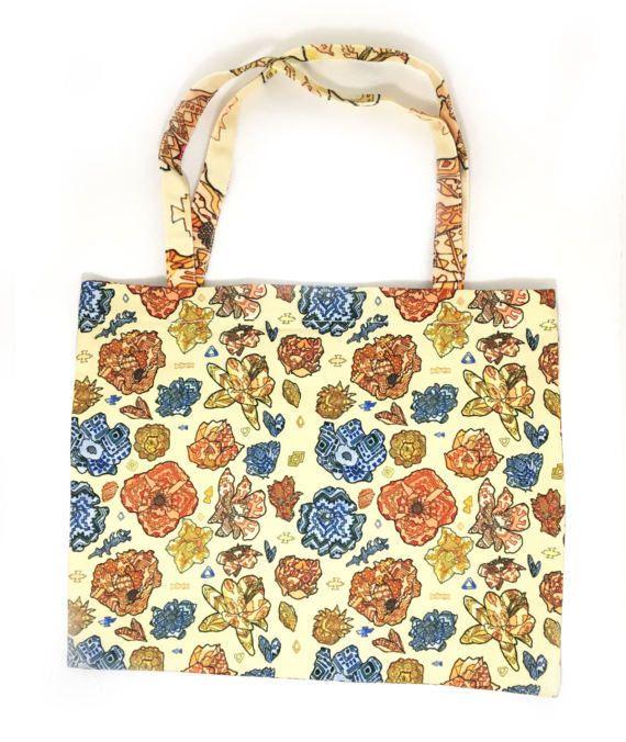 Mini Tribal Flower Tote Bag, Small Tribal Tote, Floral Tote Bag, Graphic Tote Bag, Tote Bag With Zipper, Zipper Tote Bag Flowers, Floral Bag by LandfishApparel on Etsy