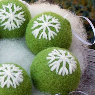 Needle Felted Christmas Ornaments Kiwi Green with Snowflakes ...