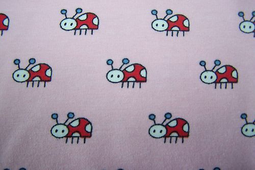 BIO Jersey Zwergenwiese Marienkäfer rosa rot Käfer Kinder Stoff Janeas World