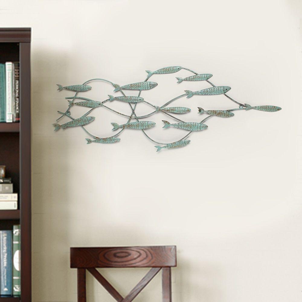 Iron Decorative Wall Pieces Adeco Decorative Distressed Blue Iron School Of Fish Wall Decor
