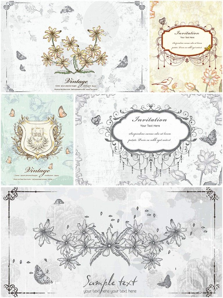 Old floral invitation vector cards floral invitation old floral invitation vector cards free download stopboris Choice Image