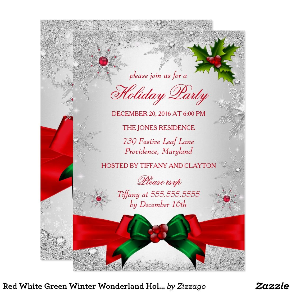 Red White Green Winter Wonderland Holiday Party Card   Christmas ...