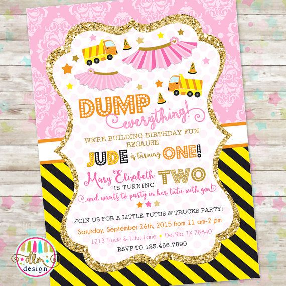 Dump Truck and Tutu Invitation Trucks and Tutus Double Birthday – Dump Truck Party Invitations