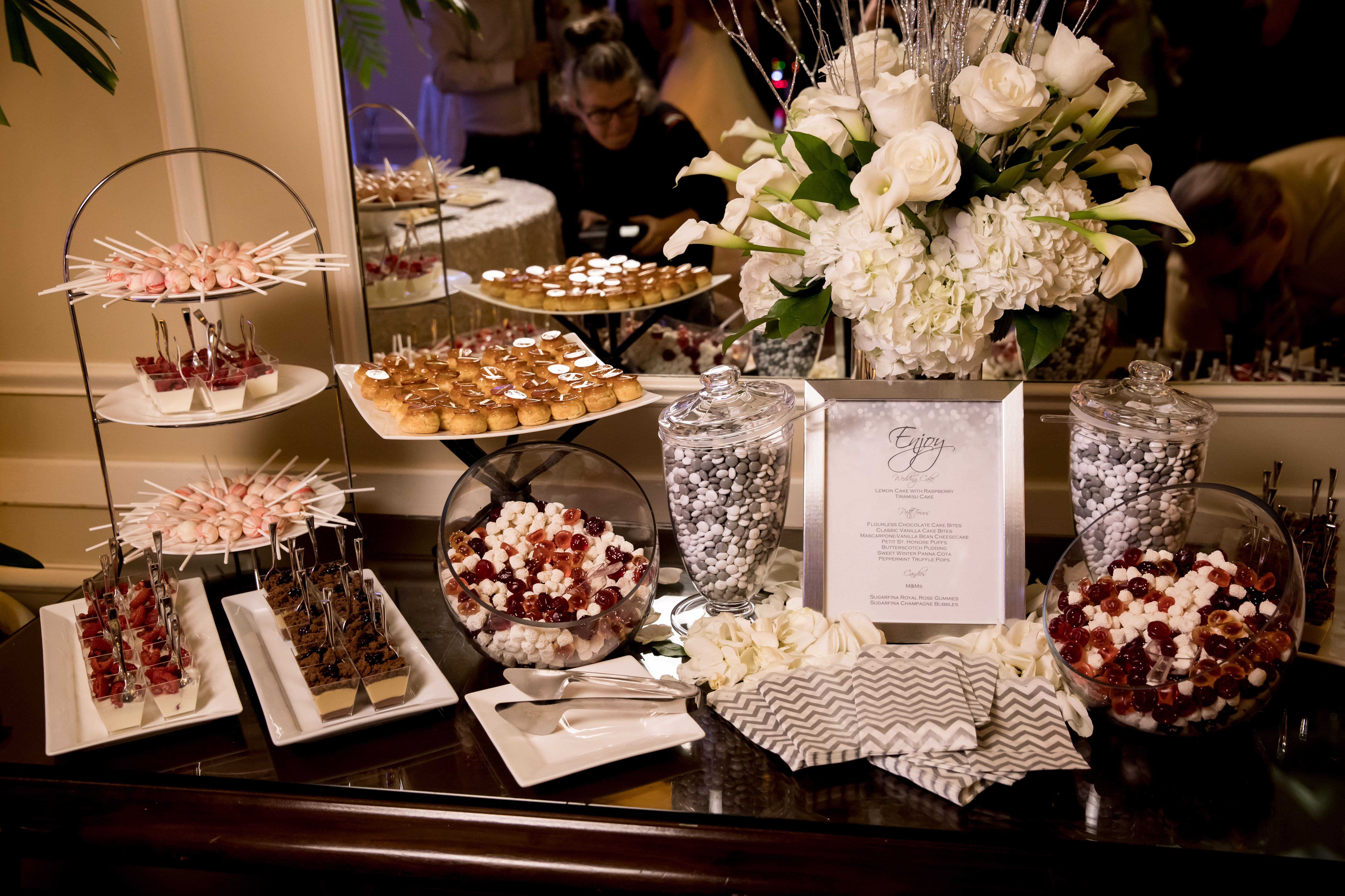 Candy bar: ToutSweet Patisserie, San Francisco; Personalized M&Ms; Sugarfina Champagne bubbles & Royal roses.