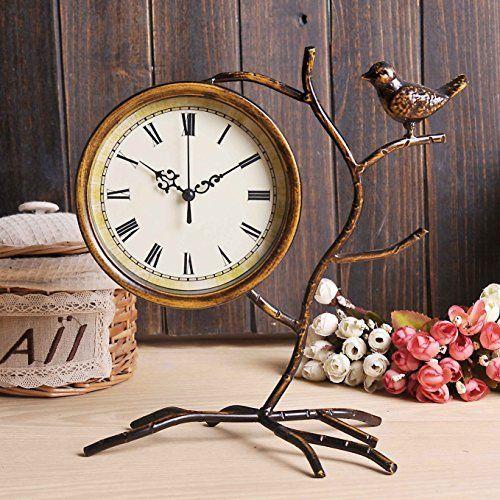 Brandream Vintage Desk Clock Small Decorative Rustic Shelf Clocks