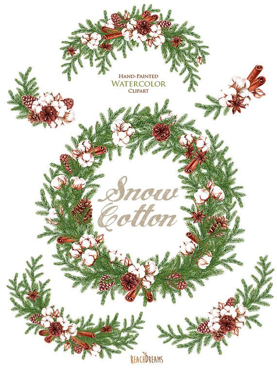 Christmas wreath holly. Watercolor otton bouquets decorations