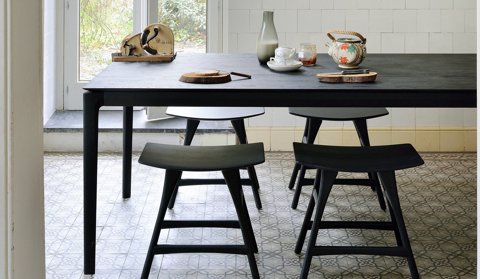 Bok Oak Dining Table Black With Images Dining Table Black