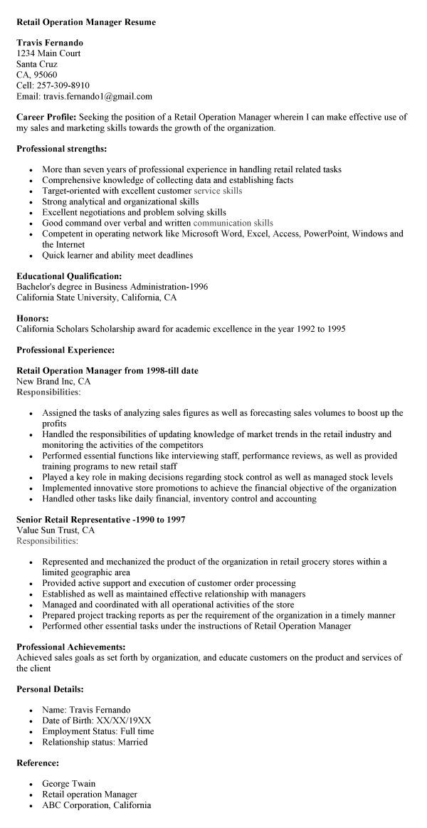 Retail Operation Manager Resume #1026 -    topresumeinfo 2014 - retail skills resume