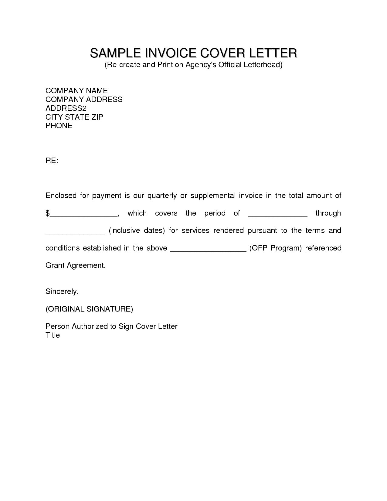 Invoice Cover Letter Invoice Template Ideas Free Sample