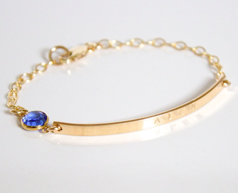 14k Gold Nameplate Bracelet Id Long Bar Initial Cz Custom Jewelry Birthstone Hand Stamped