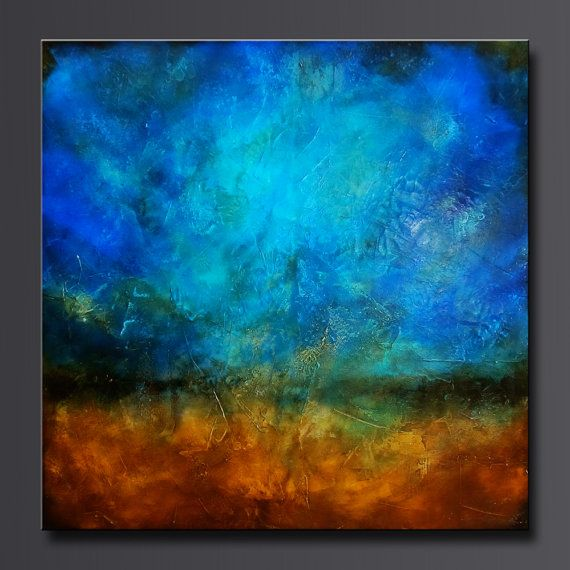 Sapphire and Sand 2 - 30 x 30 - Acrylic Abstract Painting - Highly Textured- Original Contemporary Wall Art