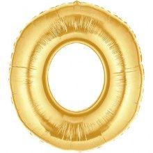 Broj nula u zlatnoj boji balon. Balon u obliku broja u zlatnoj boji.